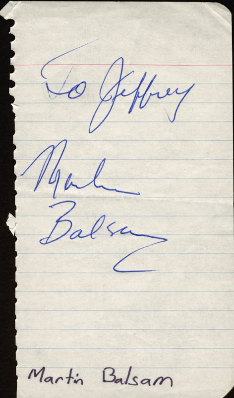 Image 1 for Martin Balsam - Inscribed Signature - HFSID 2270