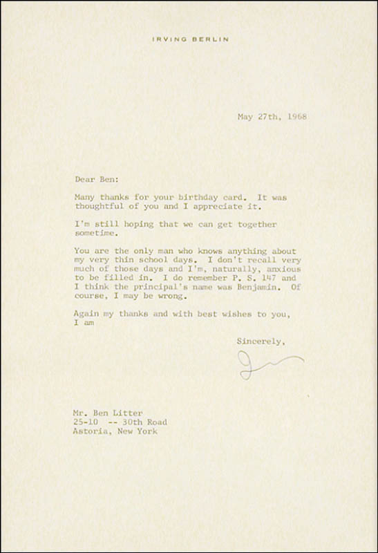 Image 3 for Irving Berlin - Typed Letter Signed 05/27/1968 - HFSID 227154