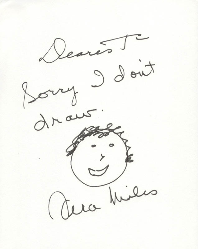 Image 1 for Vera Miles - Inscribed Self-caricature Signed - HFSID 227265