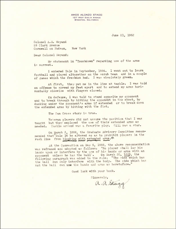 Image 1 for Amos Alonzo Stagg - Typed Letter Signed 06/21/1952 - HFSID 227286