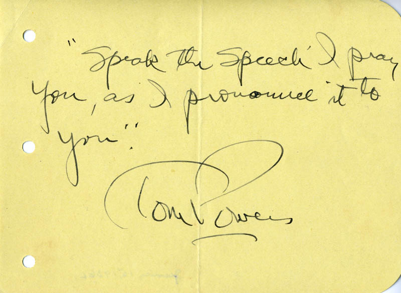 Image 1 for Tom Powers - Autograph Quotation Signed - HFSID 22733