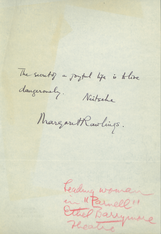 Image 1 for Margaret Rawlings - Autograph Quotation Signed - HFSID 22768