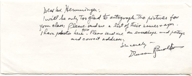 Image 1 for Duncan 'The Cisco Kid' Renaldo - Autograph Letter Signed - HFSID 22791
