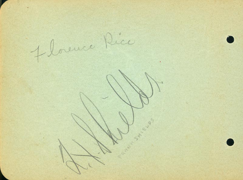 Image 1 for Florence Rice - Autograph co-signed by: Don Budge, Alvin 'Amos' Childress, Frank Shields - HFSID 22808