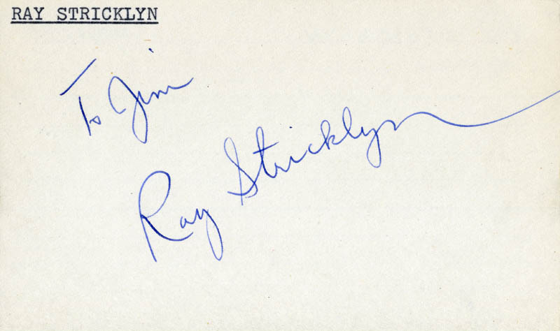 Image 1 for Ray Stricklyn - Inscribed Signature - HFSID 22871