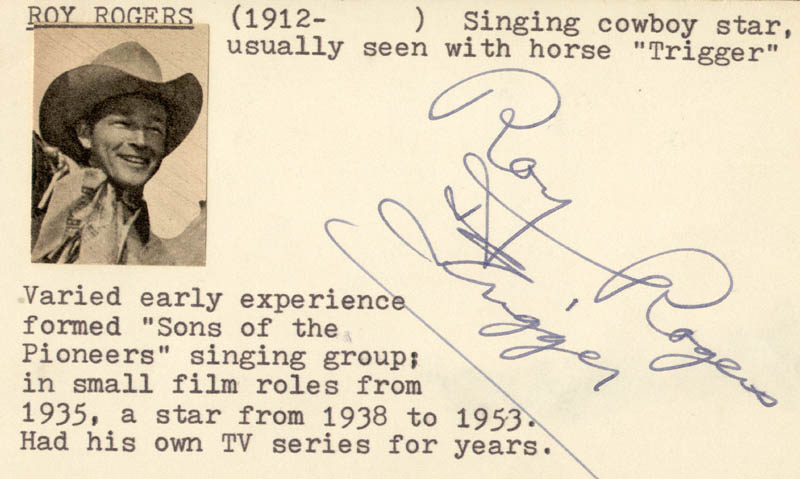 Image 1 for Roy Rogers - Autograph - HFSID 22925