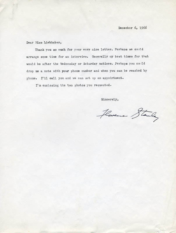 Image 1 for Florence Stanley - Typed Letter Signed 12/06/1966 - HFSID 22952