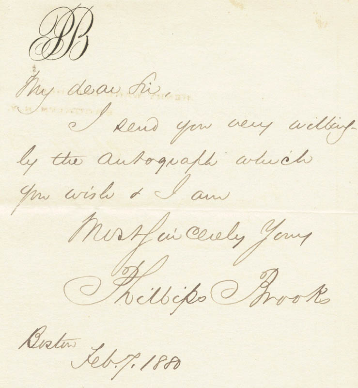 Image 1 for Phillips Brooks - Autograph Letter Signed 02/07/1880 - HFSID 23121