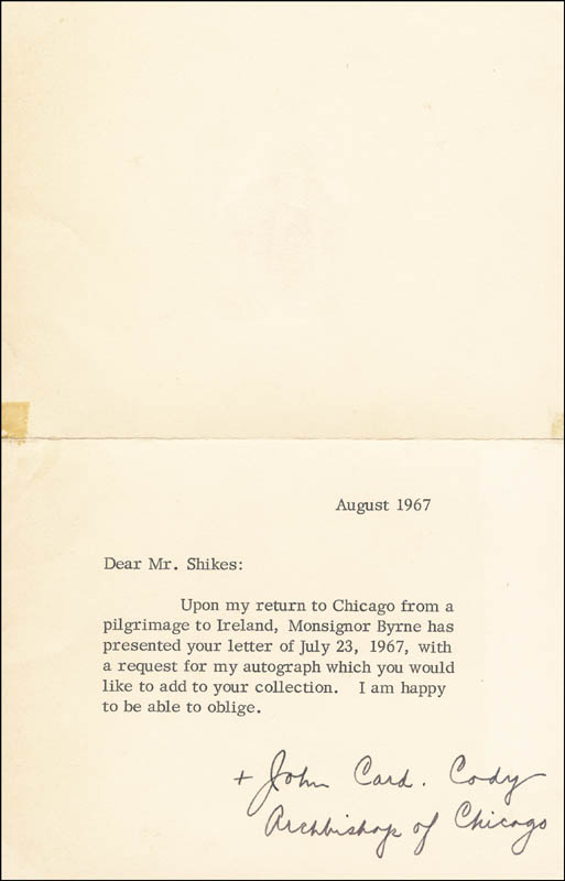 Image 1 for John Cardinal Cody - Typed Letter Signed 8/1967 - HFSID 23131