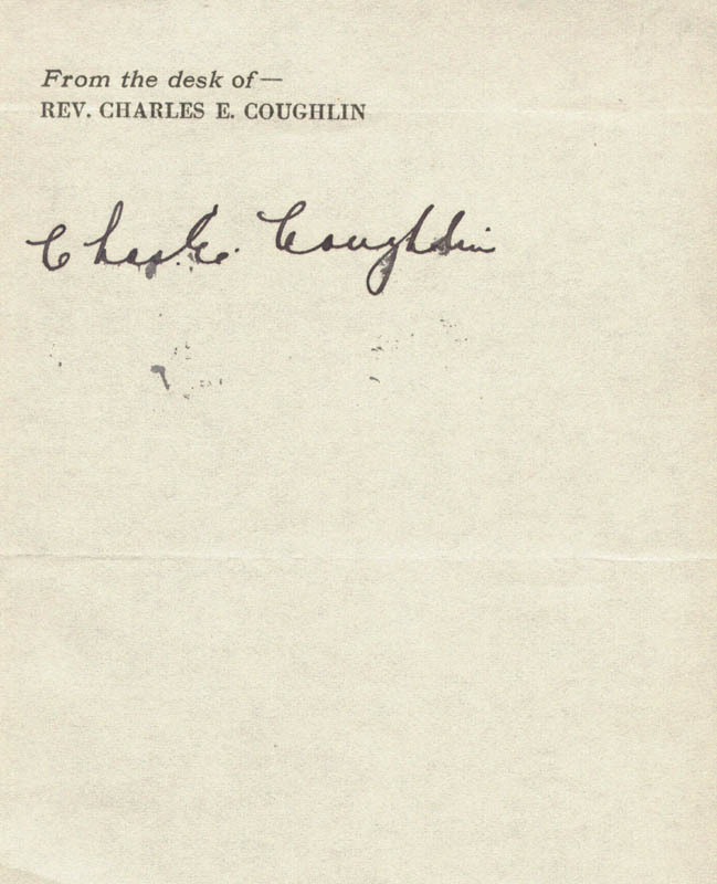 Image 1 for Charles Coughlin - Autograph - HFSID 23135