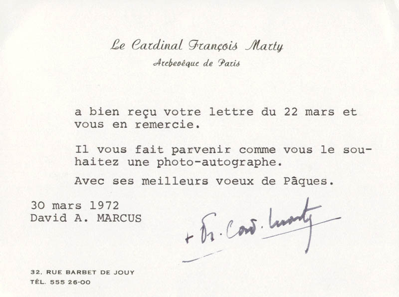 Image 1 for Francois Cardinal Marty - Typed Note Signed 03/30/1972 - HFSID 23168