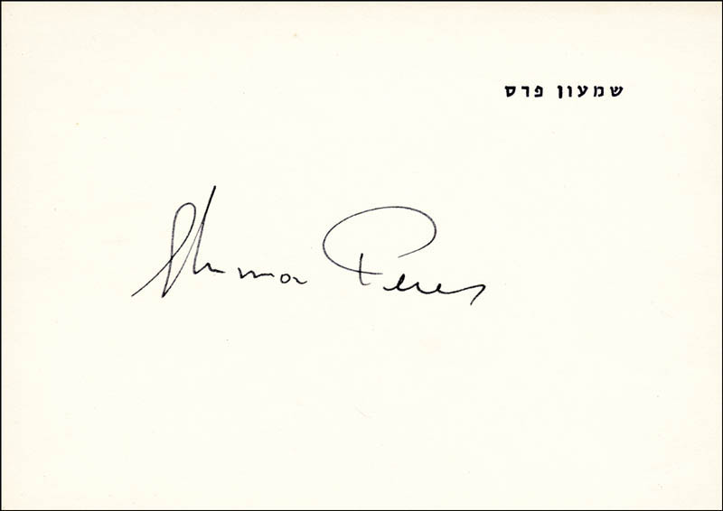 Image 1 for Prime Minister Shimon Peres - Printed Card Signed In Ink - HFSID 23892