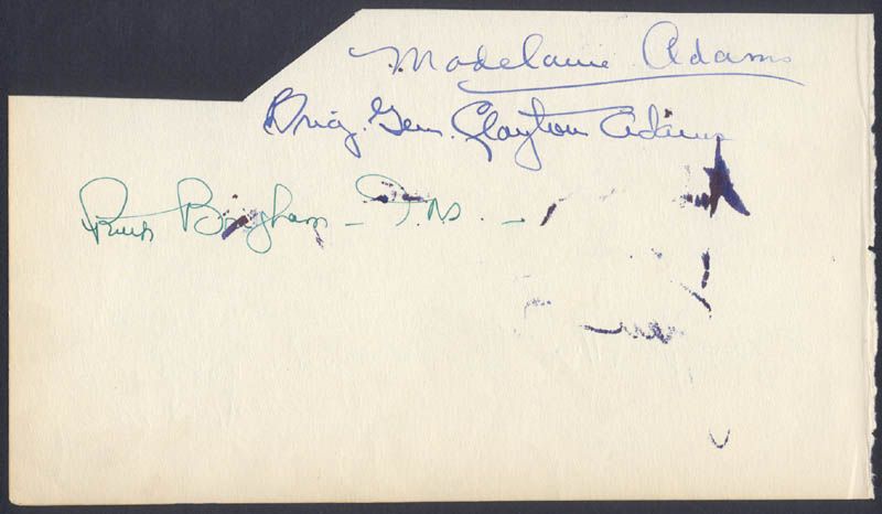 Image 1 for Brigadier General Clayton Adams - Autograph co-signed by: Madelaine Adams, J. Frank Birdsall Jr., Charles Fantin - HFSID 24000
