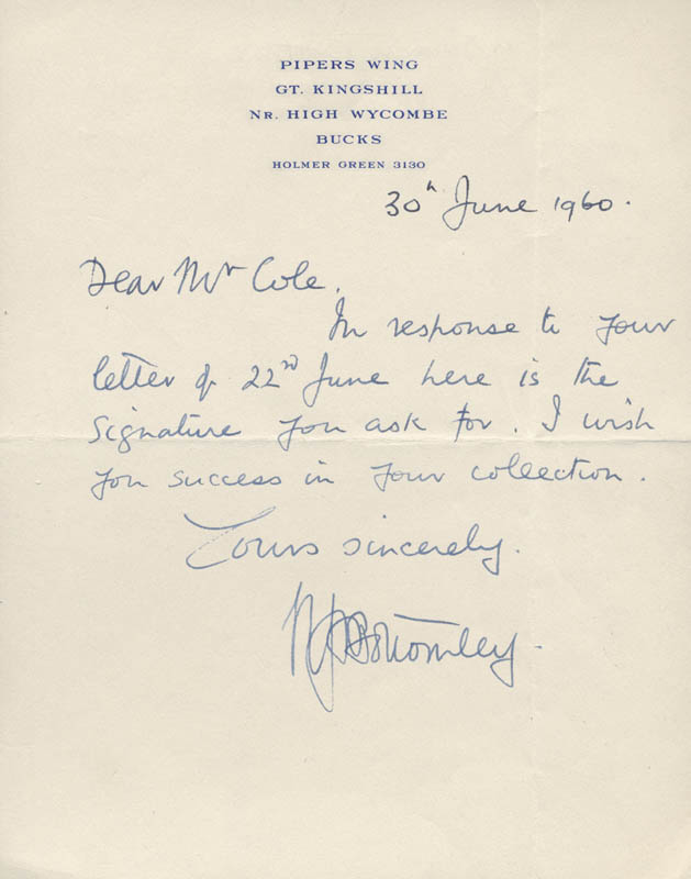 Image 1 for Air Chief Marshal Norman H. Bottomley - Autograph Letter Signed 06/30/1960 - HFSID 24038
