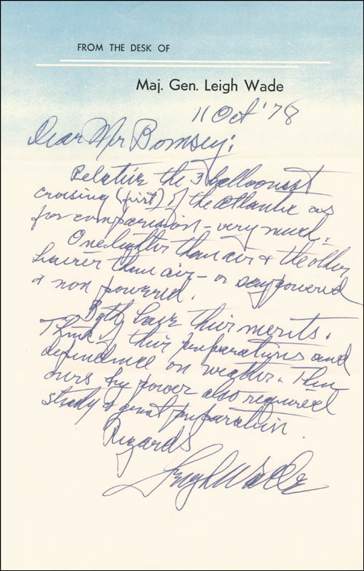 Image 1 for Major General Leigh Wade - Autograph Letter Signed 10/11/1978 - HFSID 24457