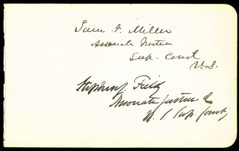 Image 1 for Associate Justice Stephen J. Field - Autograph co-signed by: Associate Justice William Strong, Associate Justice Samuel F. Miller - HFSID 24497