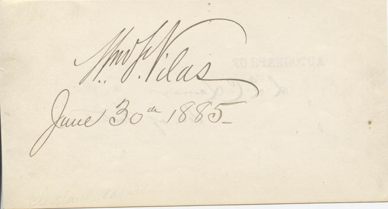 Image 3 for Associate Justice Lucius Q. C. Lamar - Autograph co-signed by: William F. Vilas - HFSID 24514