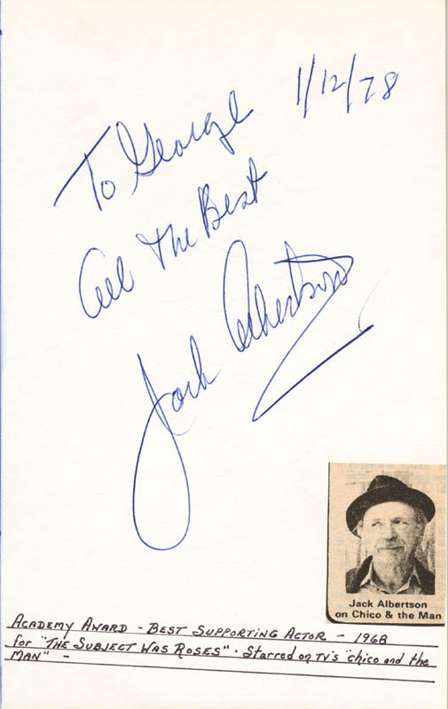 Image 1 for Jack Albertson - Autograph Note Signed 01/12/1978 - HFSID 24584