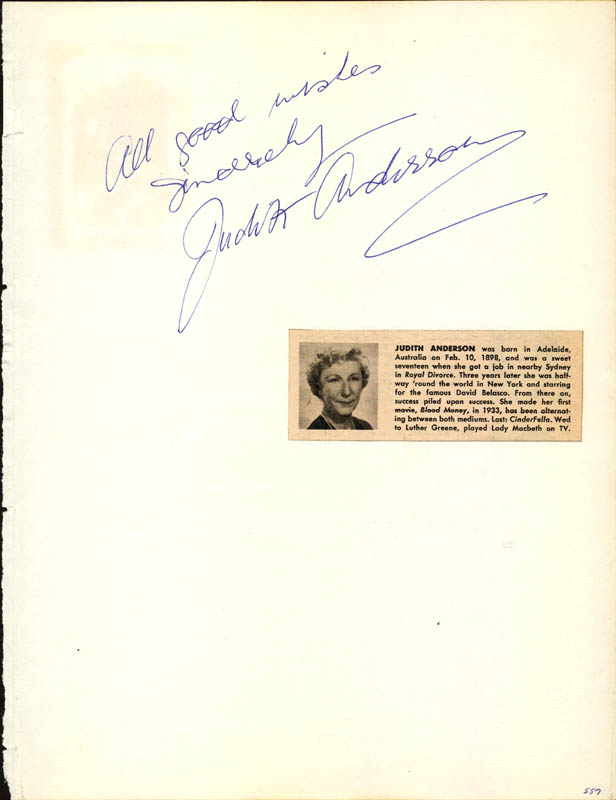 Image 1 for Dame Judith Anderson - Autograph Sentiment Signed co-signed by: Gloria Dehaven - HFSID 24610
