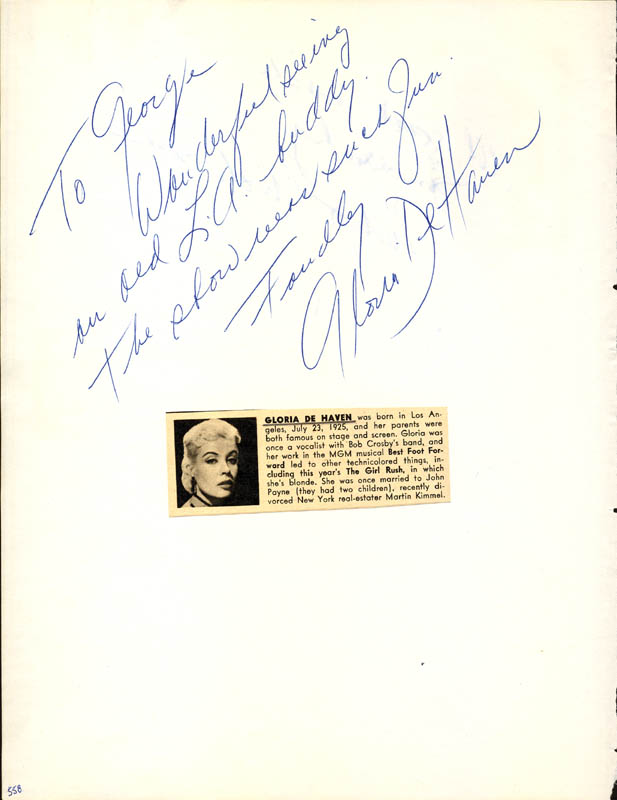 Image 3 for Dame Judith Anderson - Autograph Sentiment Signed co-signed by: Gloria Dehaven - HFSID 24610