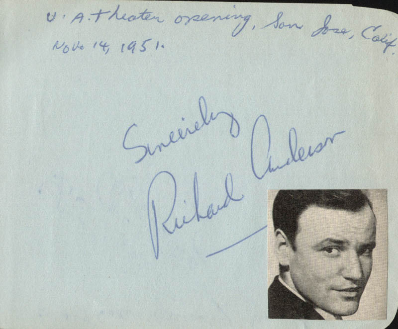 Image 1 for Richard Anderson - Autograph Circa 1951 co-signed by: Alice Kelley - HFSID 24614