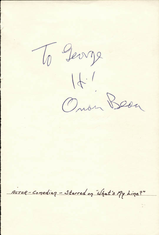 Image 1 for Orson Bean - Autograph Note Signed - HFSID 24708