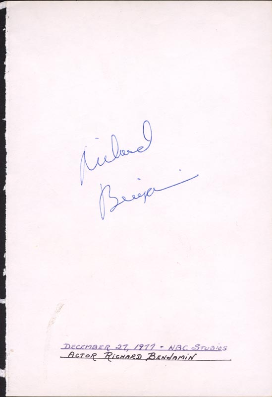 Image 1 for Richard Benjamin - Autograph - HFSID 24727
