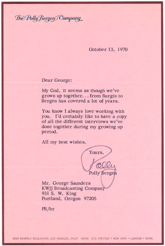 Image 1 for Polly Bergen - Typed Letter Signed 10/13/1970 - HFSID 24736