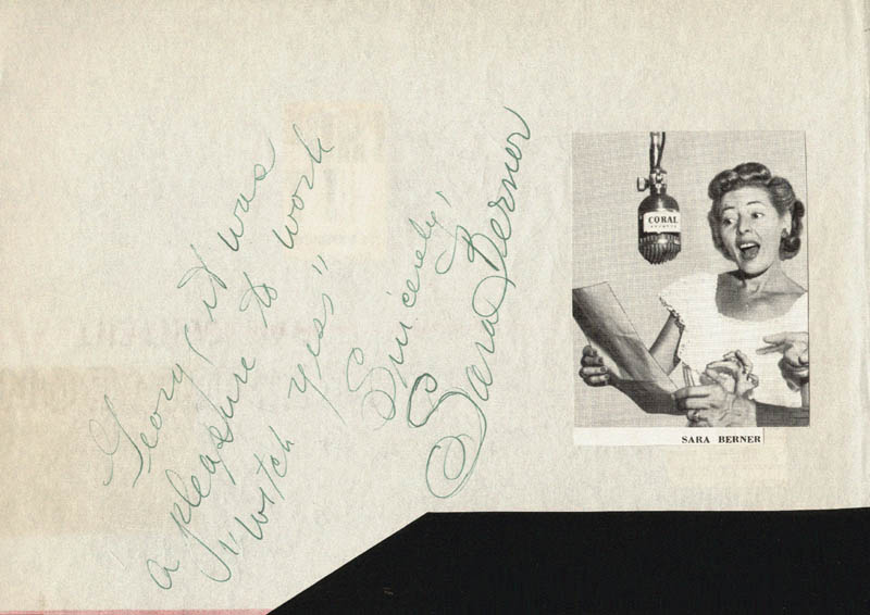 Image 1 for Sara Berner - Autograph Note Signed co-signed by: Carolina Cotton, Sonny Tufts - HFSID 24740