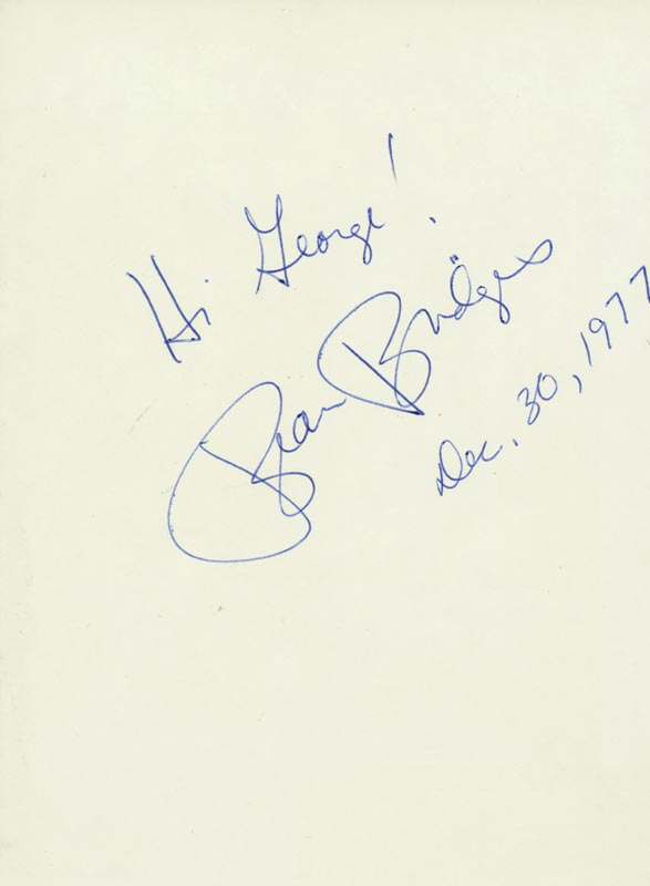 Image 1 for Beau Bridges - Inscribed Signature 12/30/1977 - HFSID 24797