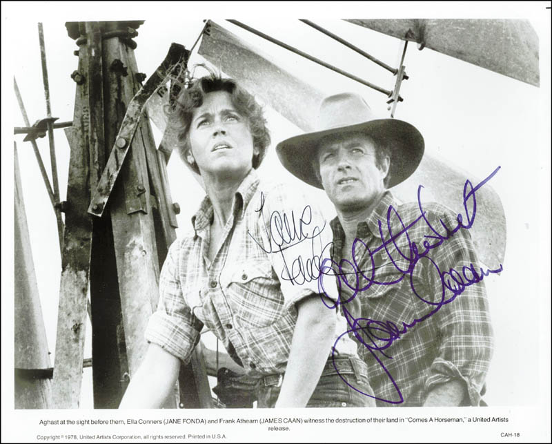 Image 1 for Comes A Horseman Movie Cast - Autographed Signed Photograph Circa 1978 co-signed by: Jane Fonda, James Caan - HFSID 24831