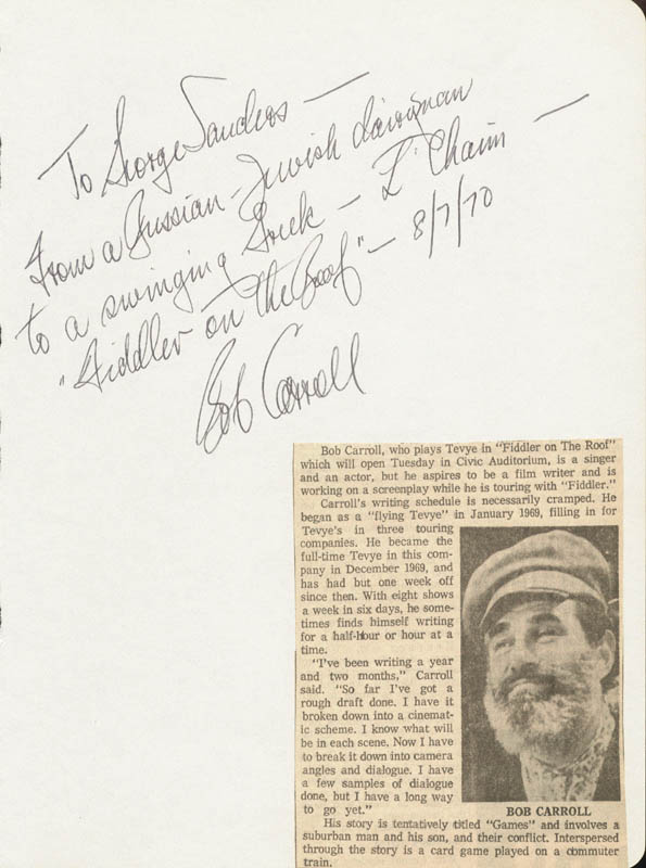 Image 1 for Bob Carroll - Autograph Note Signed 08/07/1970 - HFSID 24859