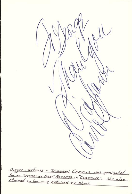 Image 1 for Diahann Carroll - Autograph Note Signed - HFSID 24860