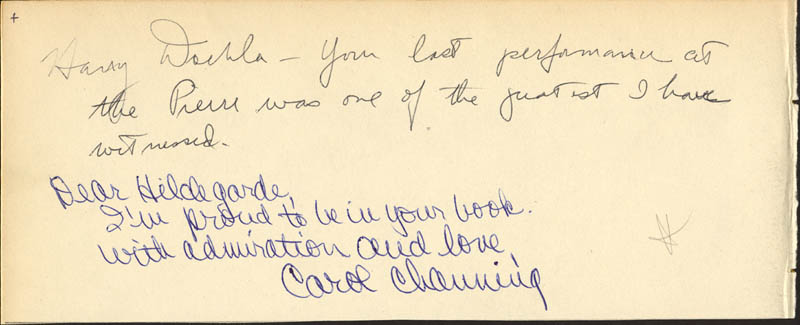 Image 1 for Carol Channing - Autograph Note Signed co-signed by: Harry Doehla - HFSID 24879