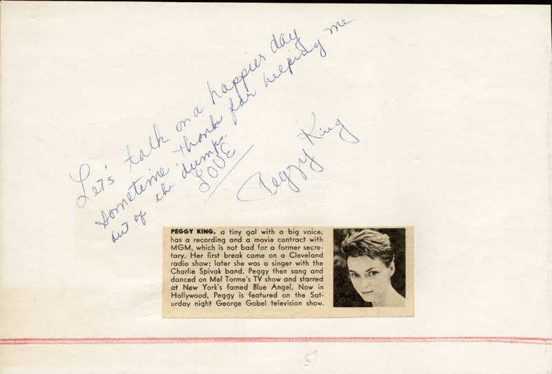 Image 3 for Cyd Charisse - Inscribed Signature co-signed by: Peggy King - HFSID 24885