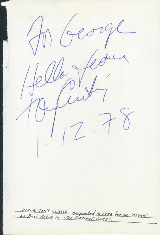 Image 1 for Tony Curtis - Autograph Note Signed 01/12/1978 - HFSID 24970