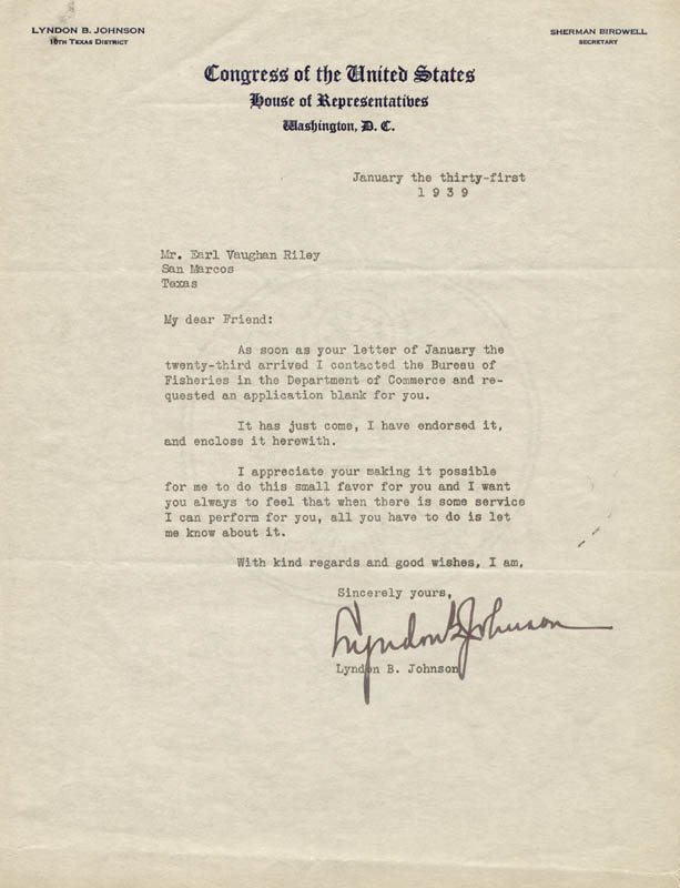Image 1 for President Lyndon B. Johnson - Typed Letter Signed 01/31/1939 - HFSID 250232