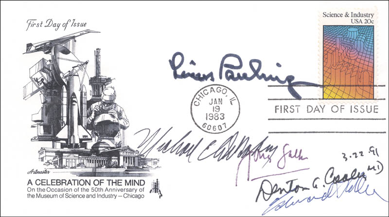 Image 1 for Dr. Jonas Salk - First Day Cover Signed 03/22/1991 co-signed by: Edward Teller, Dr. Denton A. Cooley, Linus Pauling, Dr. Michael E. Debakey - HFSID 250237