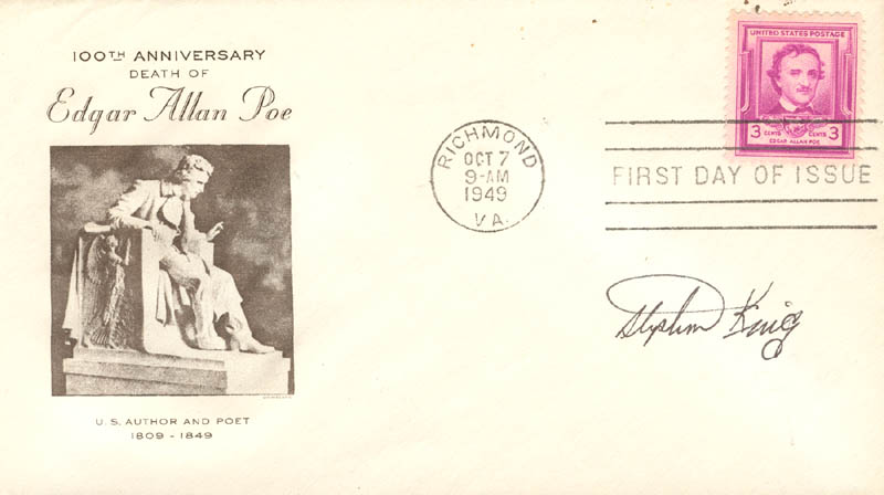 Image 1 for Stephen King - First Day Cover Signed - HFSID 250270