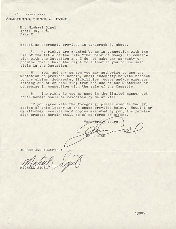 Image 1 for Tom Cruise - Document Signed 04/30/1987 - HFSID 250348