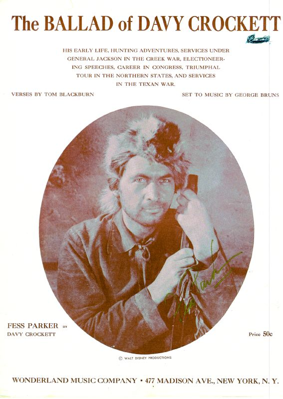 Image 1 for Fess Parker - Sheet Music Signed Circa 1954 - HFSID 250352