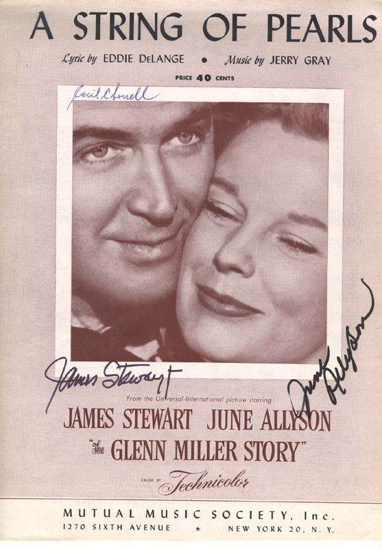 Image 1 for Glenn Miller Story Movie Cast - Sheet Music Signed co-signed by: James 'Jimmy' Stewart, June Allyson - HFSID 250382