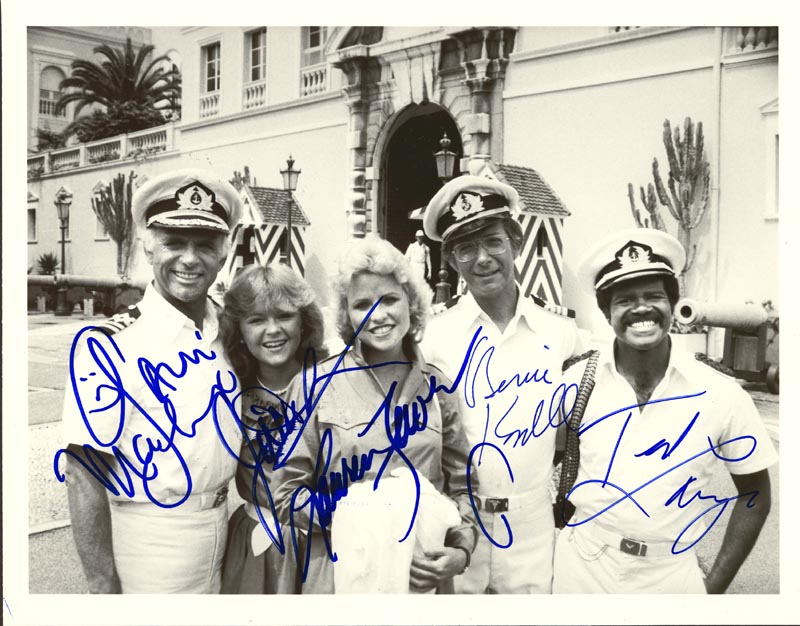 Image 1 for The Love Boat TV Cast - Autographed Signed Photograph co-signed by: Bernie Kopell, Ted Lange, Jill Whelan, Gavin Macleod, Lauren Tewes - HFSID 250403