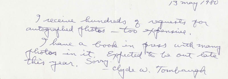 Image 1 for Clyde William Tombaugh - Autograph Note Signed 05/13/1980 - HFSID 25043