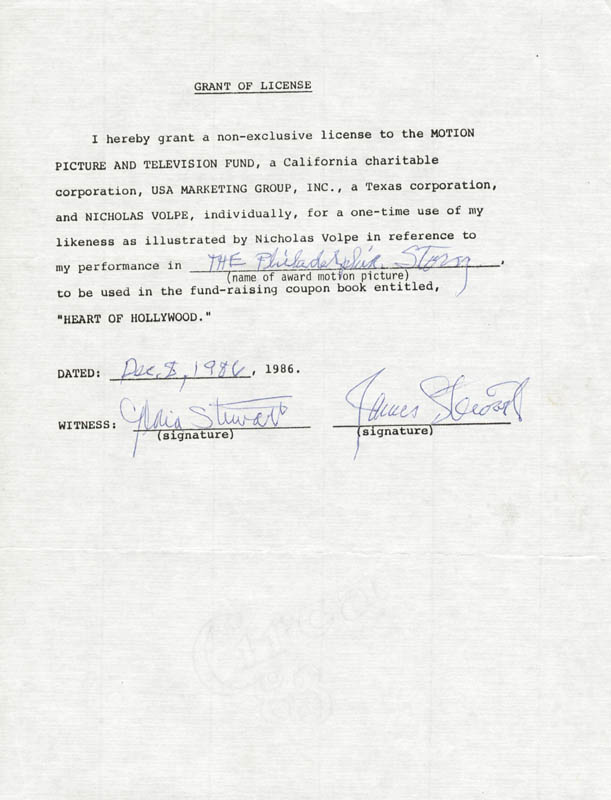 Image 1 for James 'Jimmy' Stewart - Document Signed 12/08/1986 co-signed by: Gloria Stewart - HFSID 250444