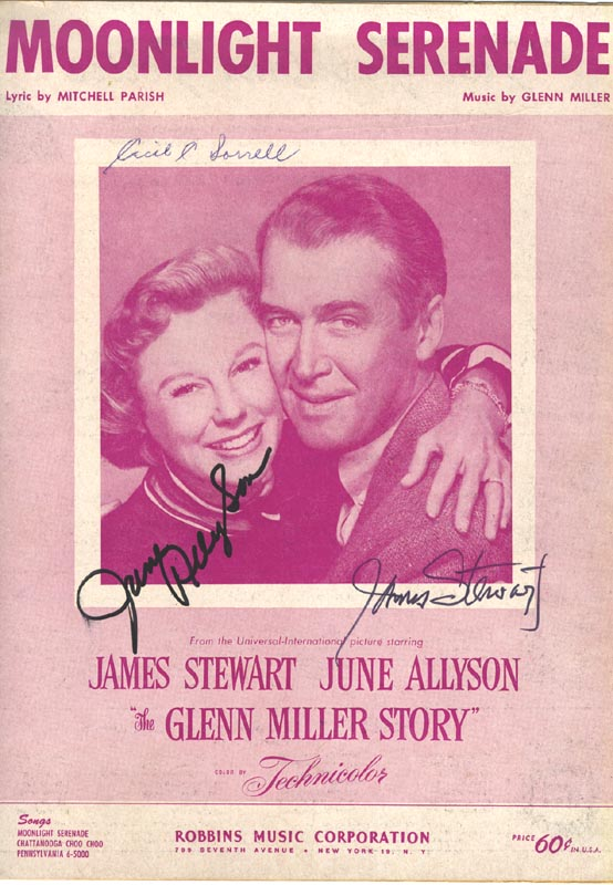 Image 1 for Glenn Miller Story Movie Cast - Sheet Music Signed co-signed by: James 'Jimmy' Stewart, June Allyson - HFSID 250445