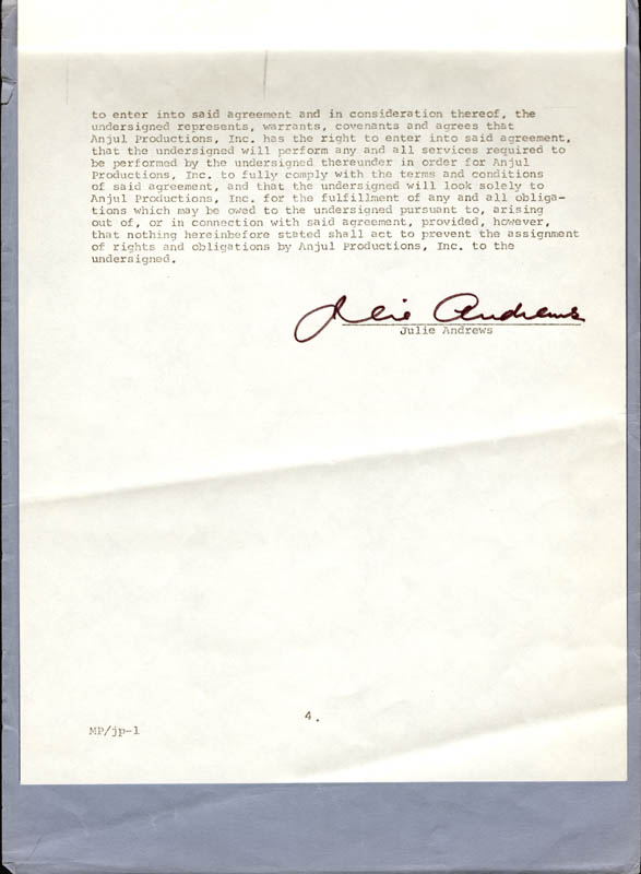 Image 1 for Julie Andrews - Contract Signed 07/01/1973 - HFSID 250546