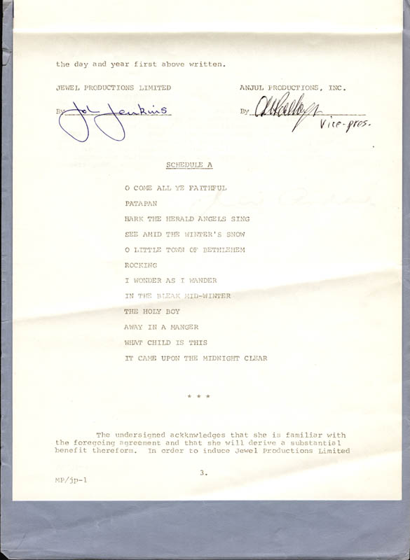 Image 3 for Julie Andrews - Contract Signed 07/01/1973 - HFSID 250546