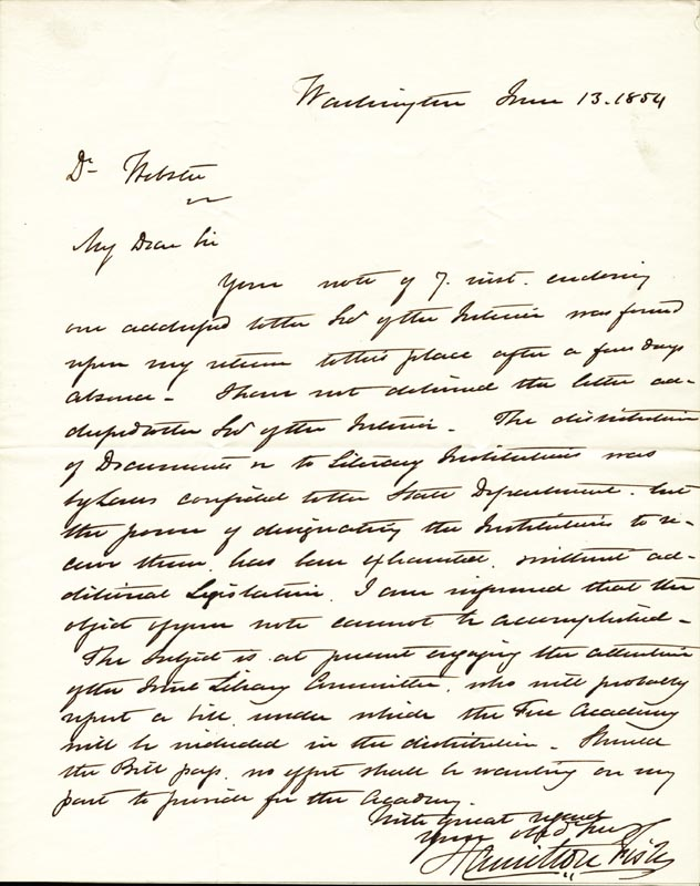 Image 1 for Hamilton Fish - Autograph Letter Signed 06/13/1854 - HFSID 250707