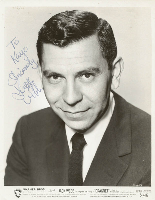 Image 1 for Jack Webb - Autographed Inscribed Photograph - HFSID 250865